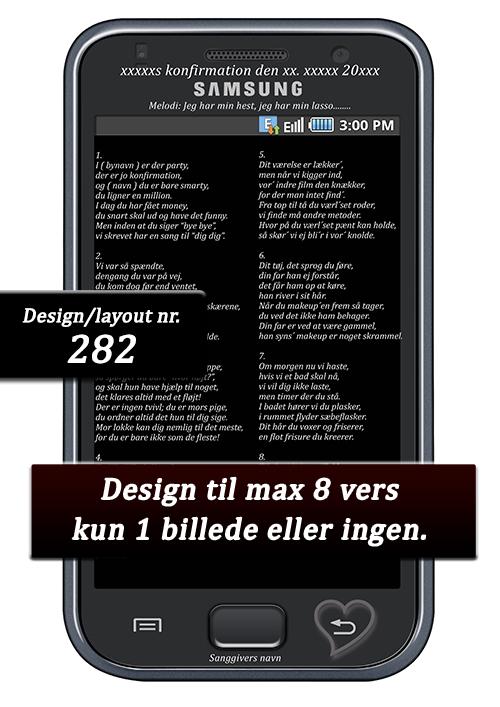 samsung smartphone design til konfirmationssange