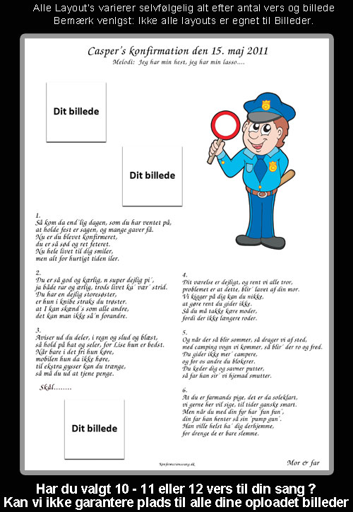 Politibetjent Design til festsange