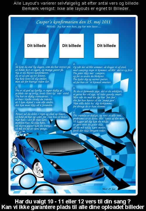 Blå bil design til festsange
