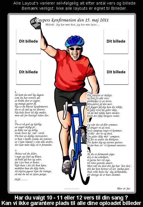 Cykelrytter Badminton design til konfirmationssang