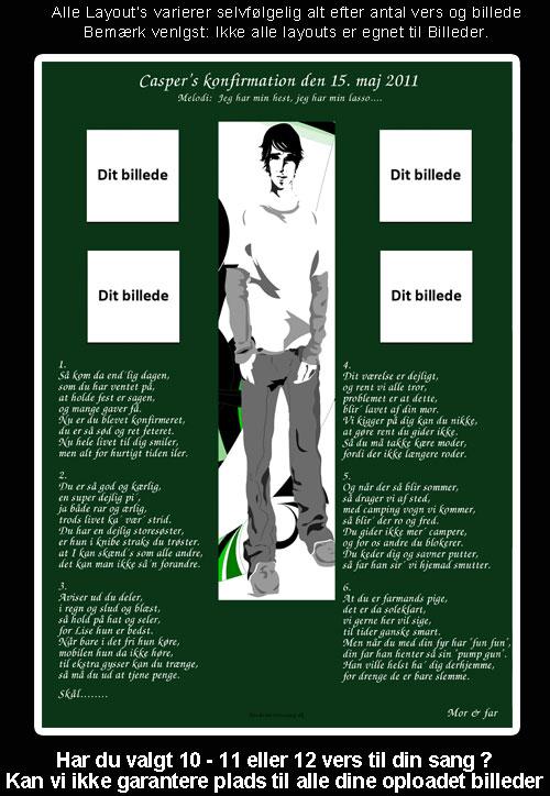 Dreng med grøn baggrund Design til festsange
