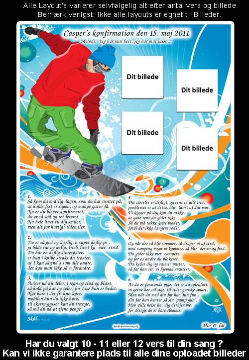 Snowboard dreng design til festsange