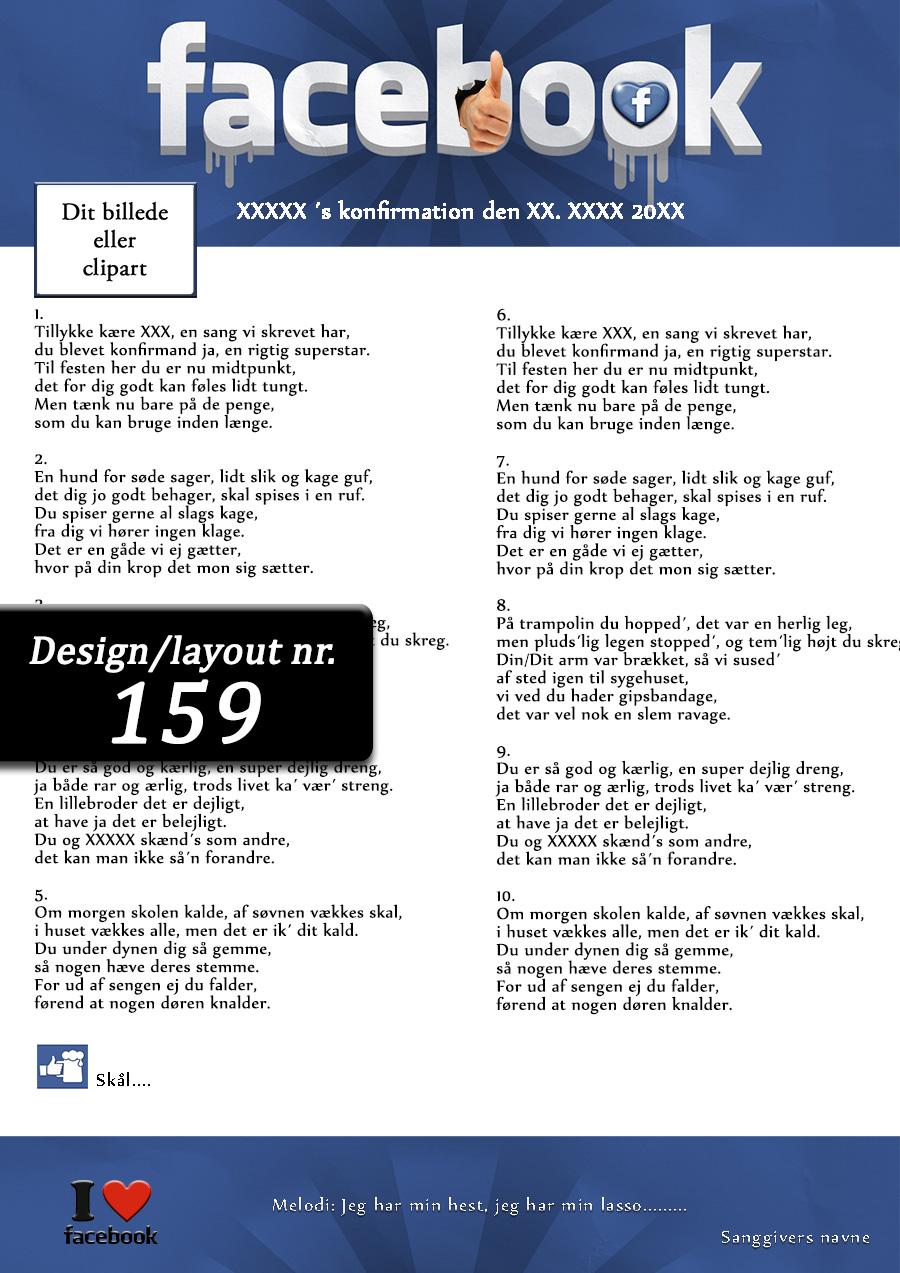 Facebook design til festsange