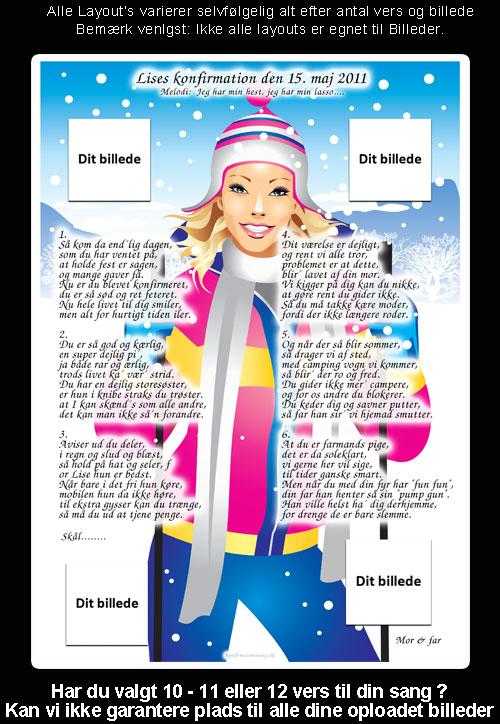 Pige med ski - design til festsange