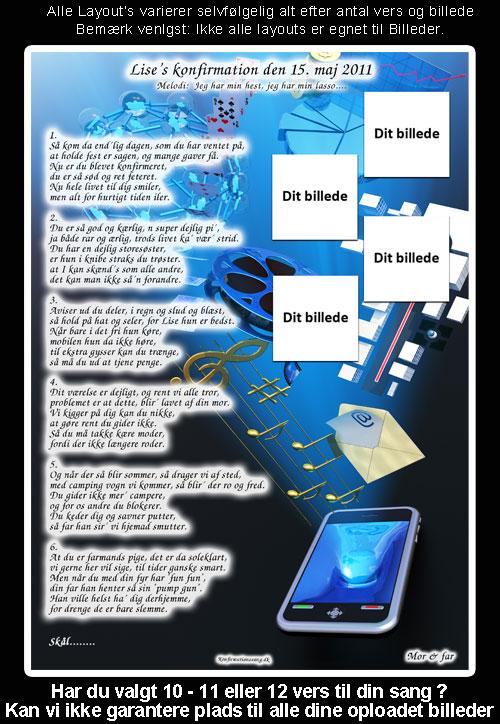 Blå mobil design til festsange