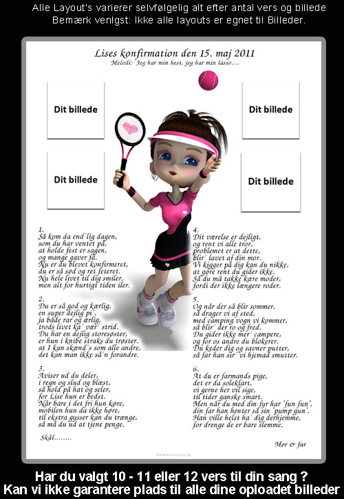 Tennis design til festsange