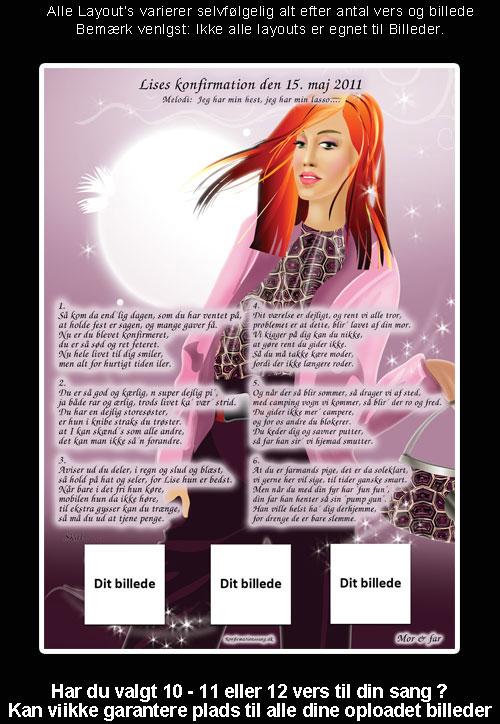 Lavendel design med rødhåret pige - Konfirmationssange