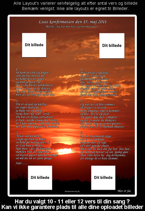 Sunset - SAolnedgang design til festsange